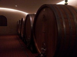 Oak Barrels in the beautiful wine cellar